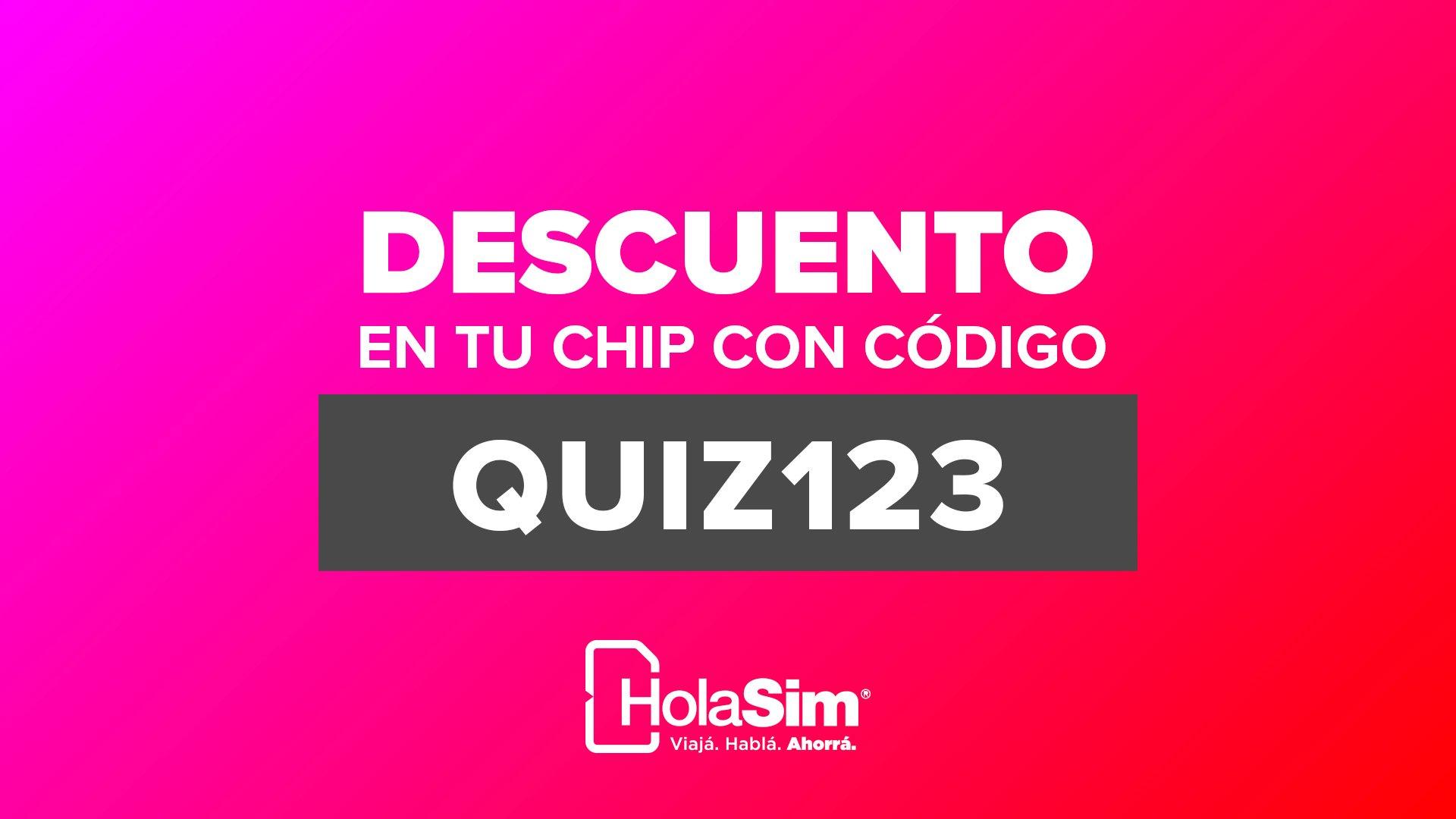 Descuento en Chip HolaSIM con codigo QUIZ123