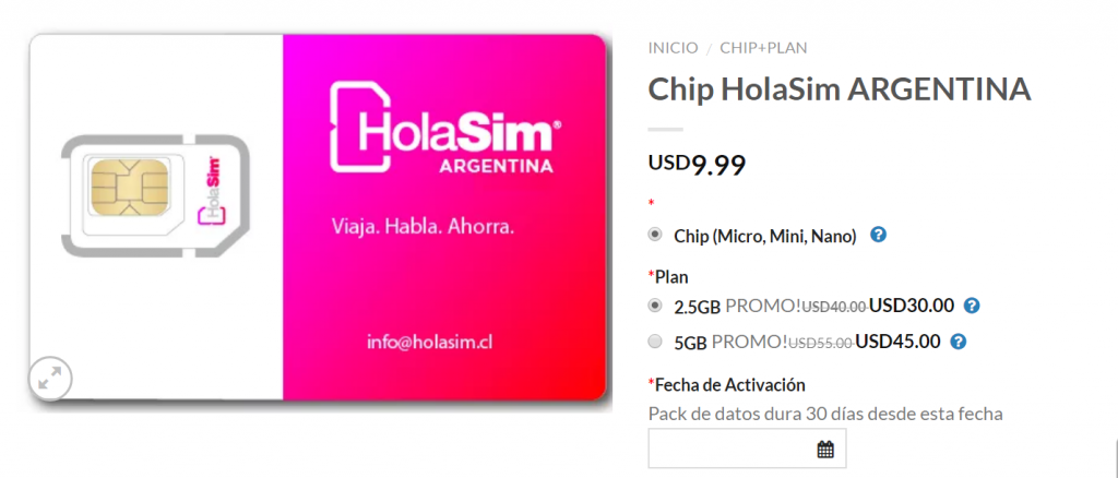 Hola Sim Argentina, roaming internacional, Chile